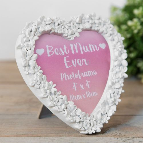 White Heart Shape 3D Flower Photo Frame